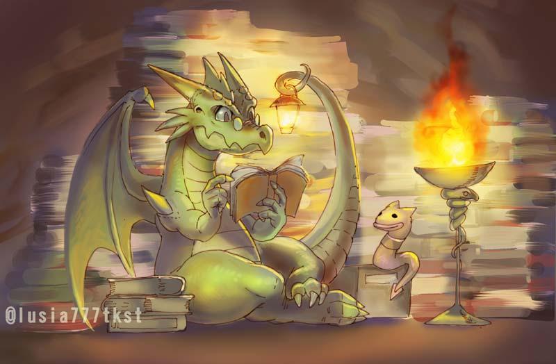 勉強するドラゴンのイラスト