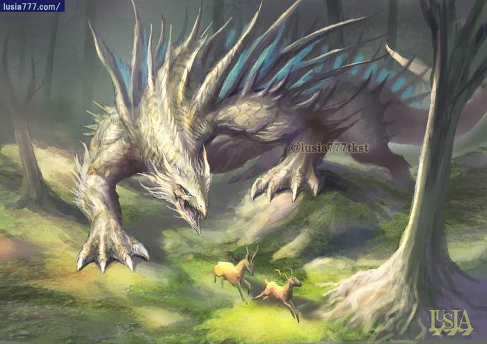 ホワイトドラゴン・リザードモンスターのイラスト