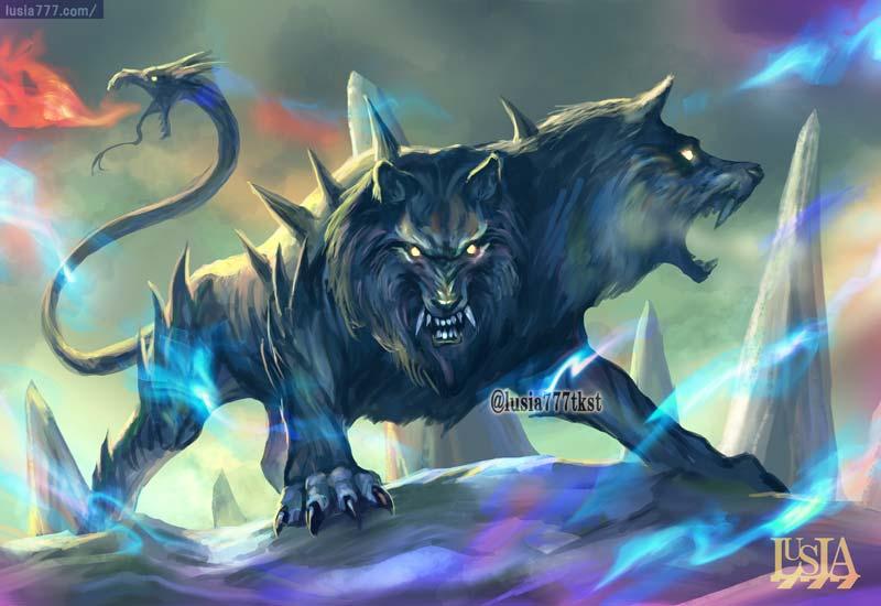 ケルベロスの兄弟犬オルトロスのイラスト