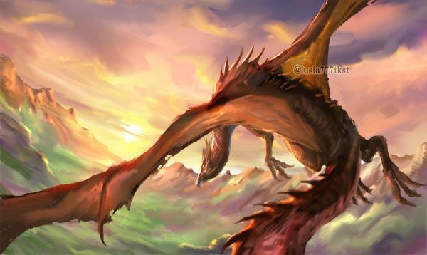 大空を夕日に向かって飛ぶドラゴン